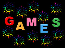 Kids Games Shows Play Time And Child. Kids Games Meaning Leisure Youngsters And Toddlers Stock Image