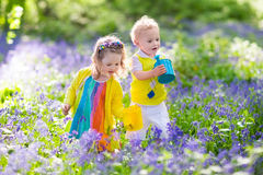 Kids in a garden with bluebell flowers Royalty Free Stock Photos