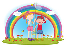 Kids in garden Royalty Free Stock Image