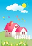 Kids garden. Vector cartoon beautiful kids garden full color Stock Image