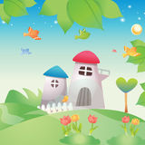Kids garden. Vector cartoon beautiful kids garden full color Royalty Free Stock Photo