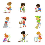 Kids Gardening Illustrations Set. Kids Gardening Set Of Flat Outlined Cartoon Vector Design Drawings  On White Background Royalty Free Stock Photos