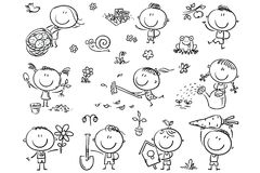 Kids Gardening Set. Doodle kids in the garden, watering, planting and gathering harvest. Easy to print and edit. Vector files can be scaled to any size Stock Photography