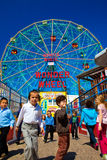 Kids Gather outside famous wonder wheel Royalty Free Stock Photography