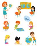 Kids at geography lesson set, preschool activities and early childhood education concept vector Illustrations on a white. Kids at geography lesson set, preschool Stock Images