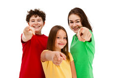 Kids gesturing isolated on white background Royalty Free Stock Photos