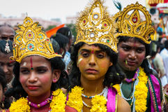 Kids in the getup of Lord Krishna. Kids are seen in the getup of Lord Krishna during the Rathayatra festival in India Royalty Free Stock Image