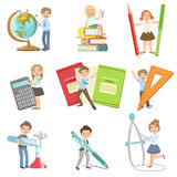 Kids With Giant School Attributes. Set Of Simple Design Illustrations In Cute Fun Cartoon Style Isolated On White Background Royalty Free Stock Photography