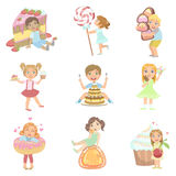 Kids And Giant Sweets Set Royalty Free Stock Image
