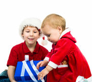 Kids with a gift Royalty Free Stock Images