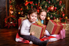 Kids with gift boxes Stock Photo
