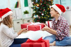 Kids with giftbox Stock Photography