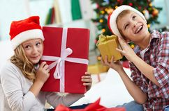 Kids with gifts Stock Images