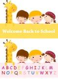 Kids and giraffe Stock Photo
