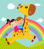 Kids and giraffe Stock Image