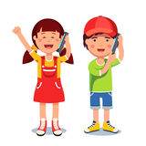 Kids girl and boy talking on a mobile smart phones. Kids girl and boy talking on a mobile cell smart phones. Flat style character vector illustration isolated on royalty free illustration