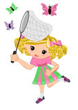 Kids girl catching butterflies Royalty Free Stock Photo