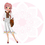 Kids girl on ethnic fashion style royalty free illustration