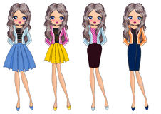 Kids girl on fashion style vector illustration
