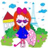 Kids Girl Paris Teenage T shirt Design Royalty Free Stock Photography