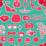 Kids girl Seamless pattern. Female interests are symbols. Seamless pattern background. Colored Vector illustration Stock Photo