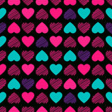 Kids girl Seamless pattern. Seamless pattern. Modern Bright  design for kids girls. Abstract hearts hand drawing. Vector illustration is isolated on a black Stock Photography