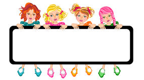 Kids girls and banner Royalty Free Stock Photos