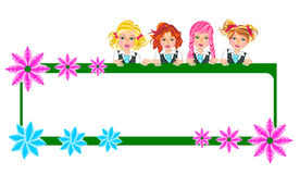 Kids girls in uniform and banner Royalty Free Stock Image