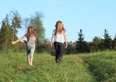 Kids - girls walking on meadow Royalty Free Stock Photo