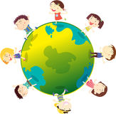 Kids on the globe. Illustration of kids playing on globe on a white background Stock Photos