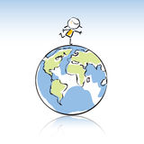 Kids with globe. Happy kid on top of the globe, peace on earth concept in children's drawing style series. see more images related sticky figure Royalty Free Stock Photo