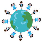 Kids on globe. Showing togetherness and unity Royalty Free Stock Photography