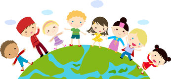 Kids and globe. Group of kids and globe-cartoon Stock Image
