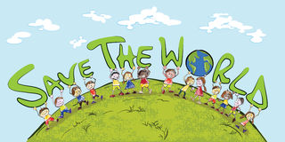 Kids and globe. Kids holding up the word save the world. on white background.vector file Royalty Free Stock Photos