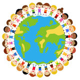Kids and globe Stock Photo