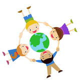 Kids and globe Stock Image
