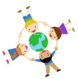 Kids and globe Stock Image
