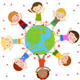Kids and globe. Illustration of cute happy children and globe