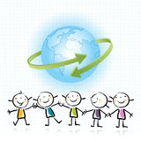 Kids globe, planet. Kids holding hands, peace on earth, ecology concept, wellness. Happy kids, blue planet Stock Photography