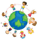 Kids and globe Stock Photography