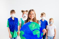 Kids with a globe. A portrait of kids with a globe Stock Images