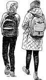 The kids go home from school. Vector drawing of the pupils going to school Stock Photo