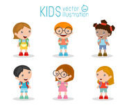 Kids go to school, back to school, Cute cartoon children, happy children Stock Photos