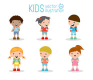 Kids go to school, back to school, Cute cartoon children, happy children Royalty Free Stock Images