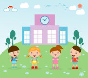 Kids go to school, child go to school, back to school, Cute cartoon children, happy children, Vector Illustration. Royalty Free Stock Photos