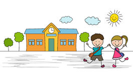 Kids go to school Royalty Free Stock Images