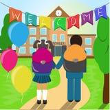 Kids go to school. royalty free illustration