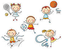 Kids going in for sport. Happy kids going in for sport vector illustration