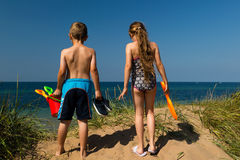 Kids going to the beach Royalty Free Stock Image