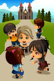 Kids going to church. A vector illustration of happy kids going to church Royalty Free Stock Photography